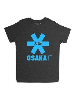 Osaka Deshi Tee Zwart Melange Blauw Logo