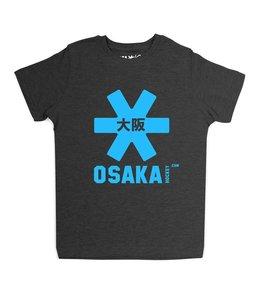 Osaka Deshi Tee Schwarz Melange Blau Logo
