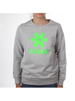 e028eb27821 Osaka Deshi Sweater Kids Grijs Melange - Groen Logo