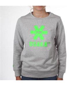 Osaka Deshi Sweater Kids Grey Melange - Grünes Logo