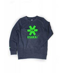 Osaka Deshi Sweater Kids Navy Melange-Groen Logo