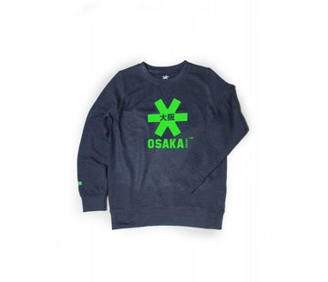 Osaka Deshi Sweater Kids Navy Melange-Green Logo