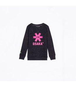 Osaka Deshi Sweater Kids Schwarz Melange-Pink Logo