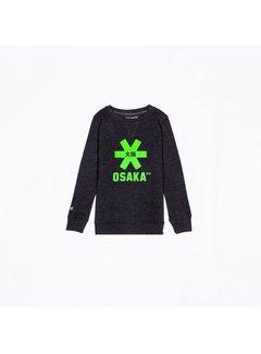 Osaka Deshi Sweater Kids Zwart Melange-Groen Logo