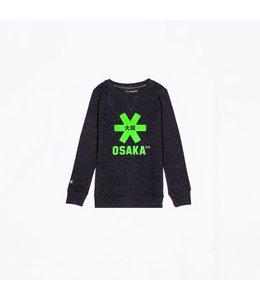 Osaka Deshi Sweater Kids Schwarz Melange-Grün Logo