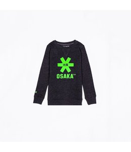 Osaka Deshi Sweater Kids Scwharz Melange-Grün Logo