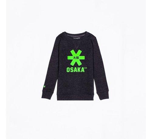 Osaka Deshi Sweater Kids Black Melange-Green Logo