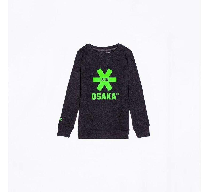Deshi Sweater Kids Black Melange-Green Logo