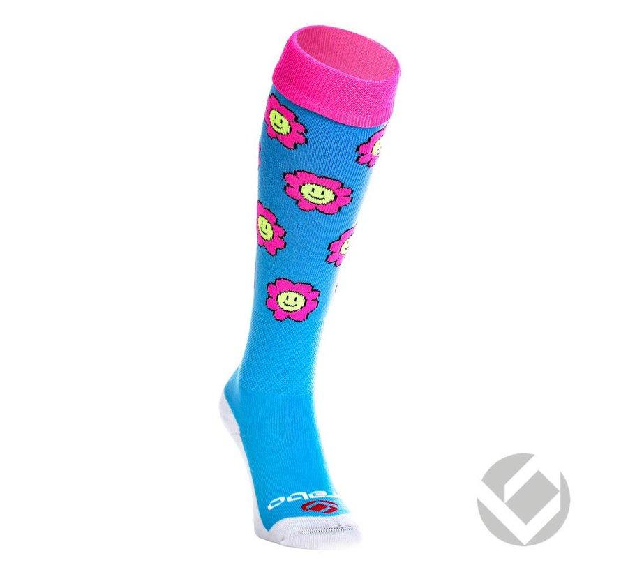 Socken Flowers Baby Blau/Rosa