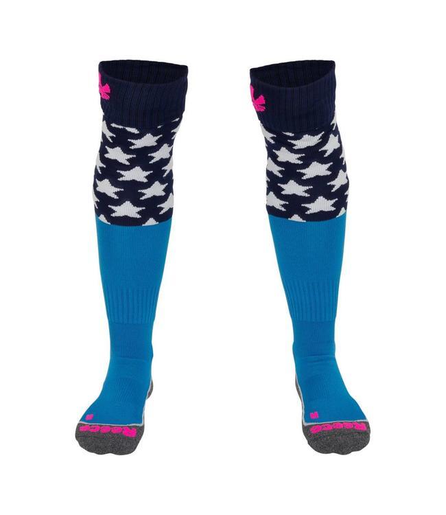 Reece Curtain Sokken Blauw/Neon Roze