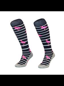 Hingly Hockeysok Stripe Flamingo Navy