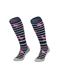 Hingly Hockey sock Stripe Flamingo Navy