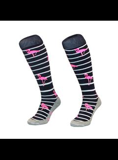 Hingly Hockey Socke Stripe Flamingo Navy