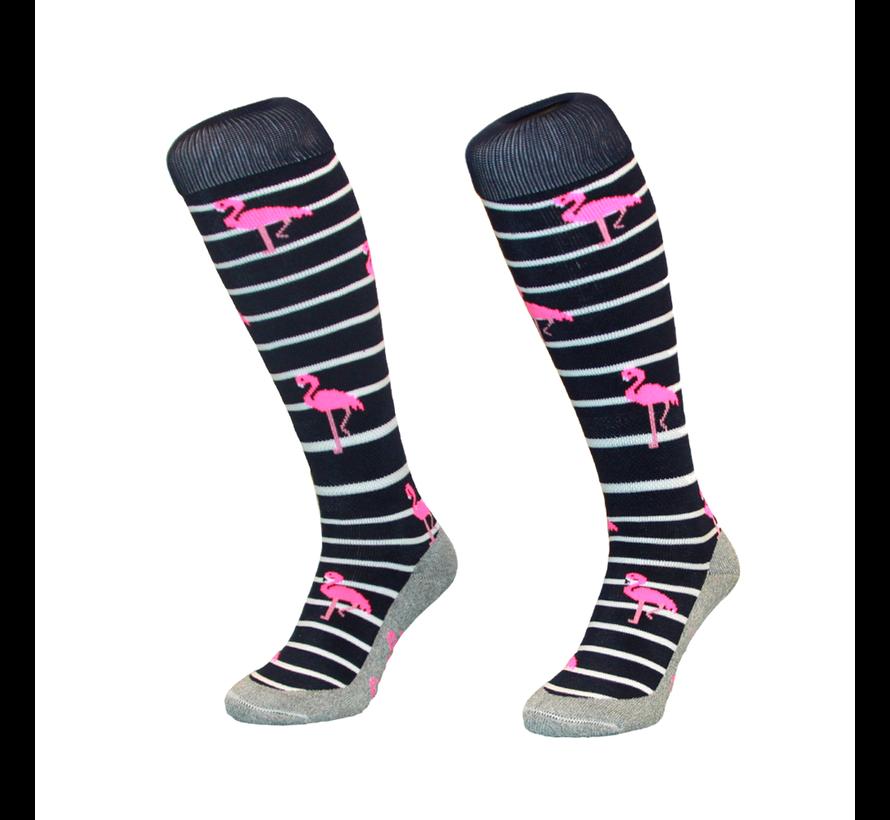 Hockey Socke Stripe Flamingo Navy