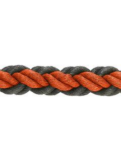 Hockeypoint Hockeytouw Oranje/zwart 8mm  per 30 meter ( prijs incl btw)