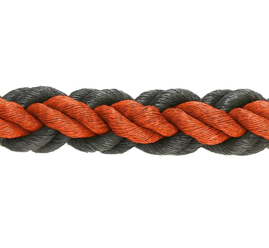 Hockeytouw Oranje/zwart 8mm  per 30 meter ( prijs incl btw)