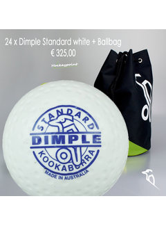 Kookaburra Combideal 24 Dimple Standard Hockeybälle Weiss mit Bälletasche