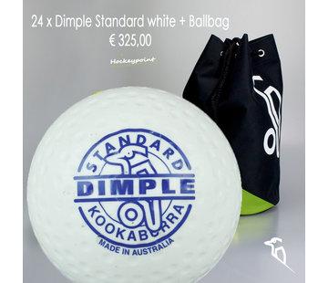 Kookaburra Combideal 24 Dimple Standard Hockeyballs White with Ballbag