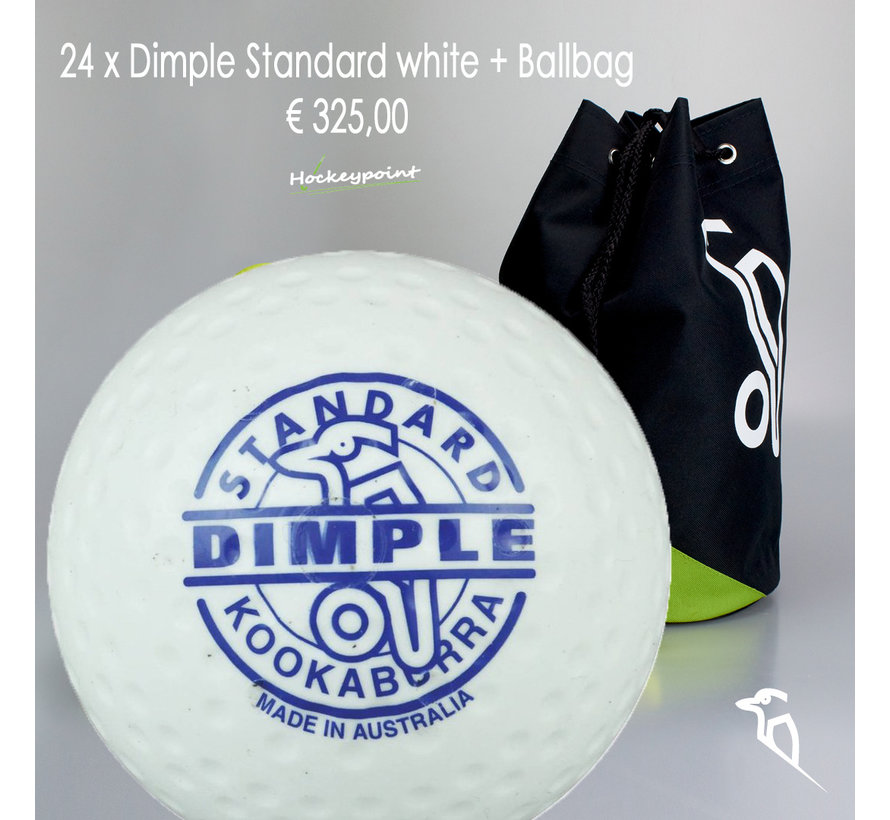 Combideal 24 Dimple Standard Hockeybälle Weiss mit Bälletasche