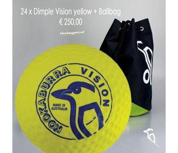 Kookaburra Combideal 24 Dimple Vision Hockeybälle Gelb mit Bälletasche