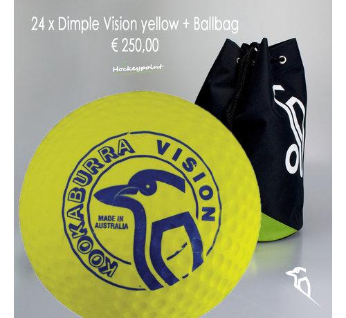 Kookaburra Combideal 24 Dimple Vision Hockeyballen Geel met Ballentas