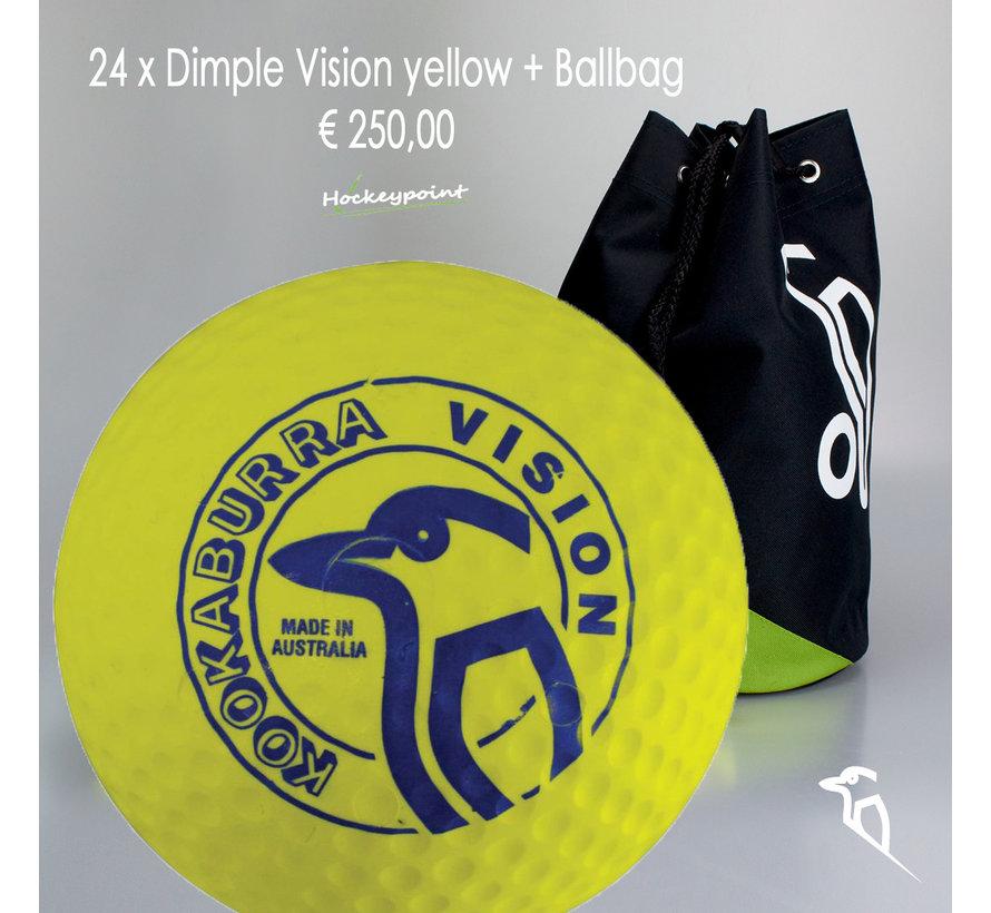 Combideal 24 Dimple Vision Hockeyballen Geel met Ballentas