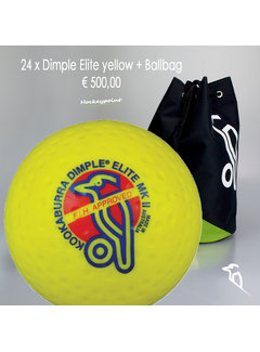 Kookaburra Combideal 24 Dimple Elite Hockeyballs Yellow with Ballbag