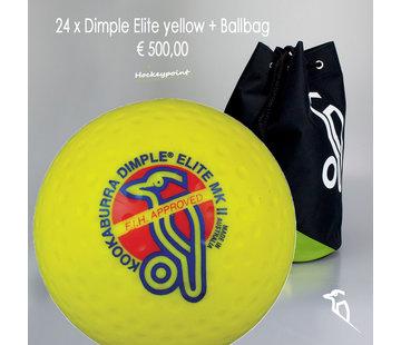 Kookaburra Combideal 24 Dimple Elite Hockeybälle Gelb mit Bälletasche