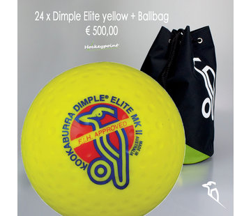 Kookaburra Combideal 24 Dimple Elite Hockeyballen Geel met Ballentas