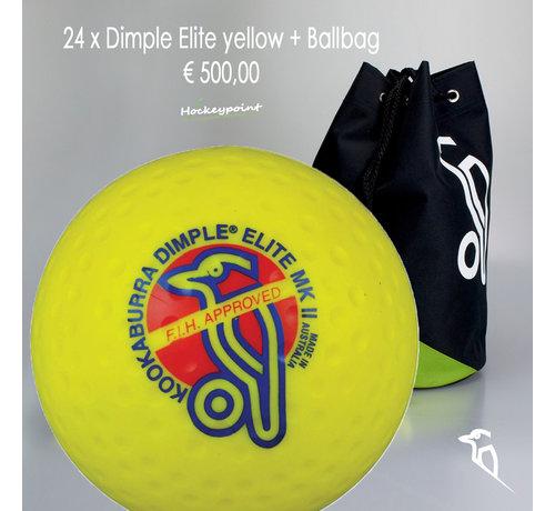 Kookaburra Combideal 24 Dimple Elite Hockeyballs Yellow with Ballbag