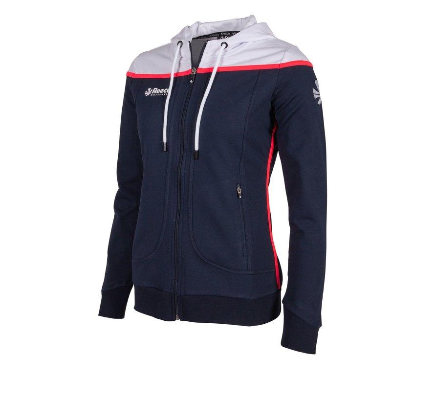 Varsity Hooded Sweat FZ Ladies Navy/Wit