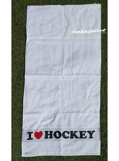 Hingly I Love Hockey Handtuch Weiss
