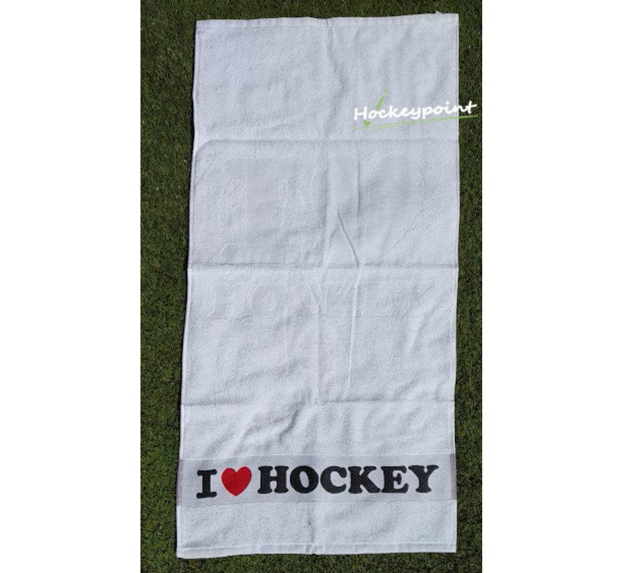I Love Hockey Towel White