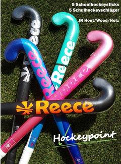 Hockeypoint Schoolhockey sticks JR hout (set van 5 stuks)