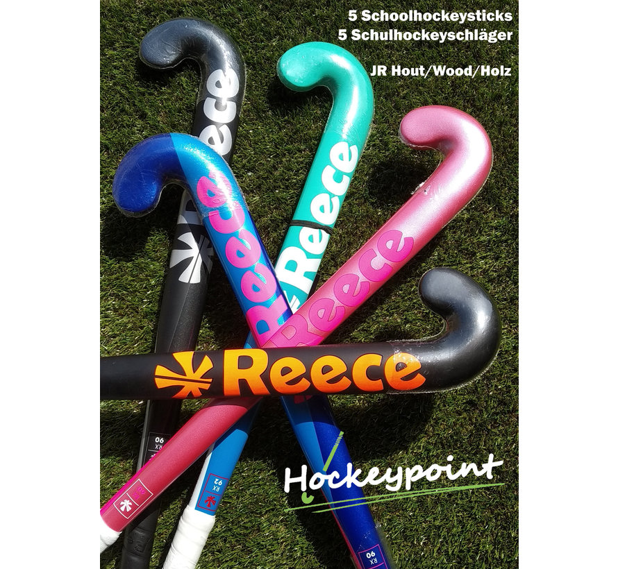 Schoolhockey sticks JR hout (set van 5 stuks)