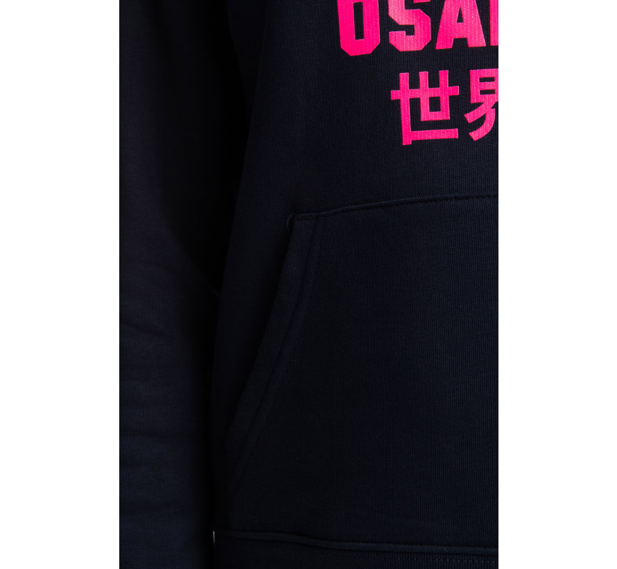 Deshi Hoodie Pink Star - Navy Melange