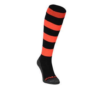 Brabo Socks Rugby Black/Neon Orange
