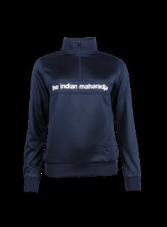 Indian Maharadja Women Poly Terry Half Zip Navy