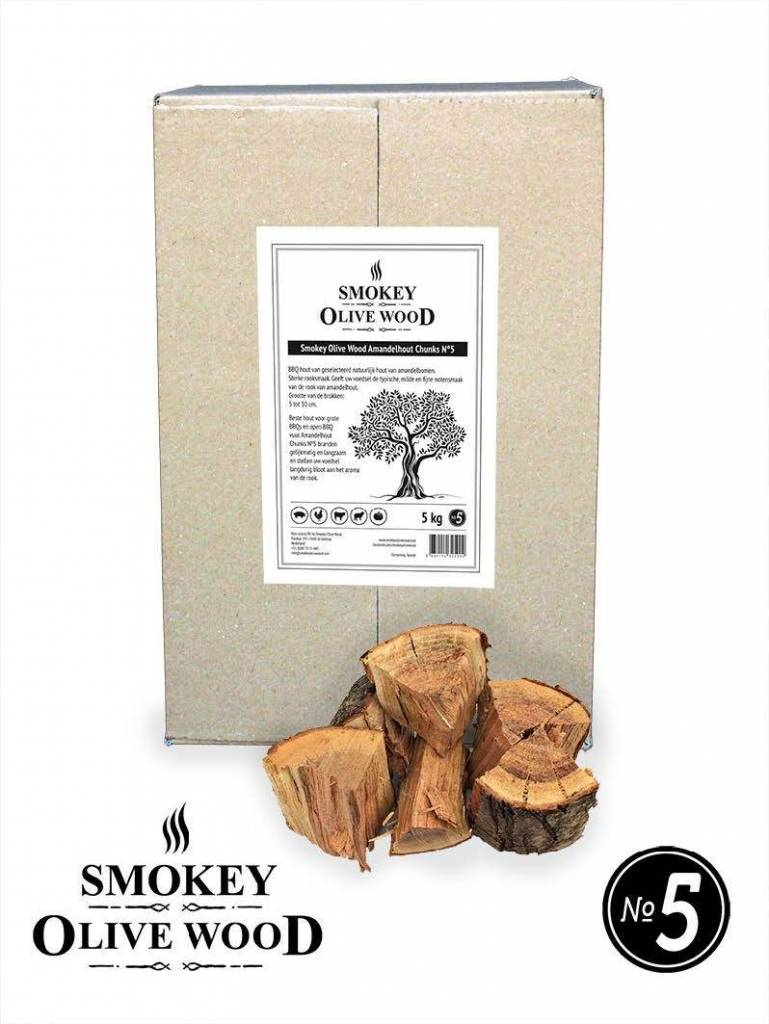 Smokey Olive Wood Smokey Olive Wood Amandelhout Chunks Nº5 -  5 kg