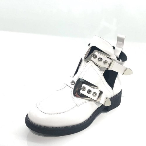 BUCKLE BOOTS 2 | white/silver