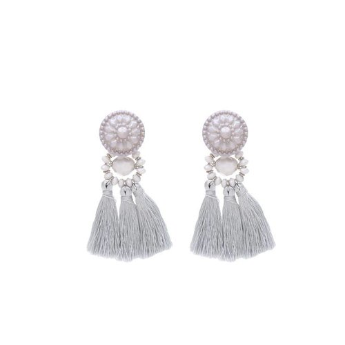 Earrings Festive Tassel | grey