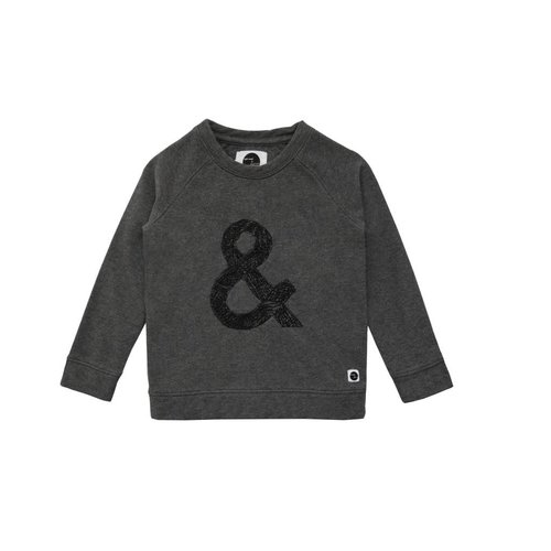 Sproet&Sprout Sweater Raglan & Sign Dark Grey Melee