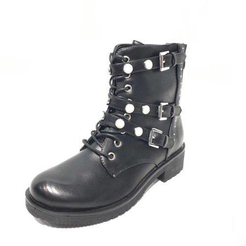 Biker boots gespen en parels | black