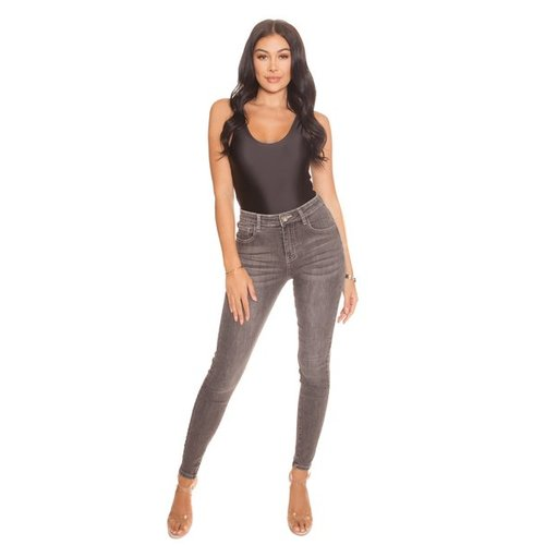 LA SISTERS HIGH WAISTED JEANS | light grey