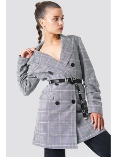 NA-KD Long Belted Blazer 1100-000934 | checkered