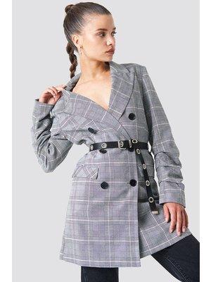NA-KD Long Belted Blazer 1100-000934 | checkered