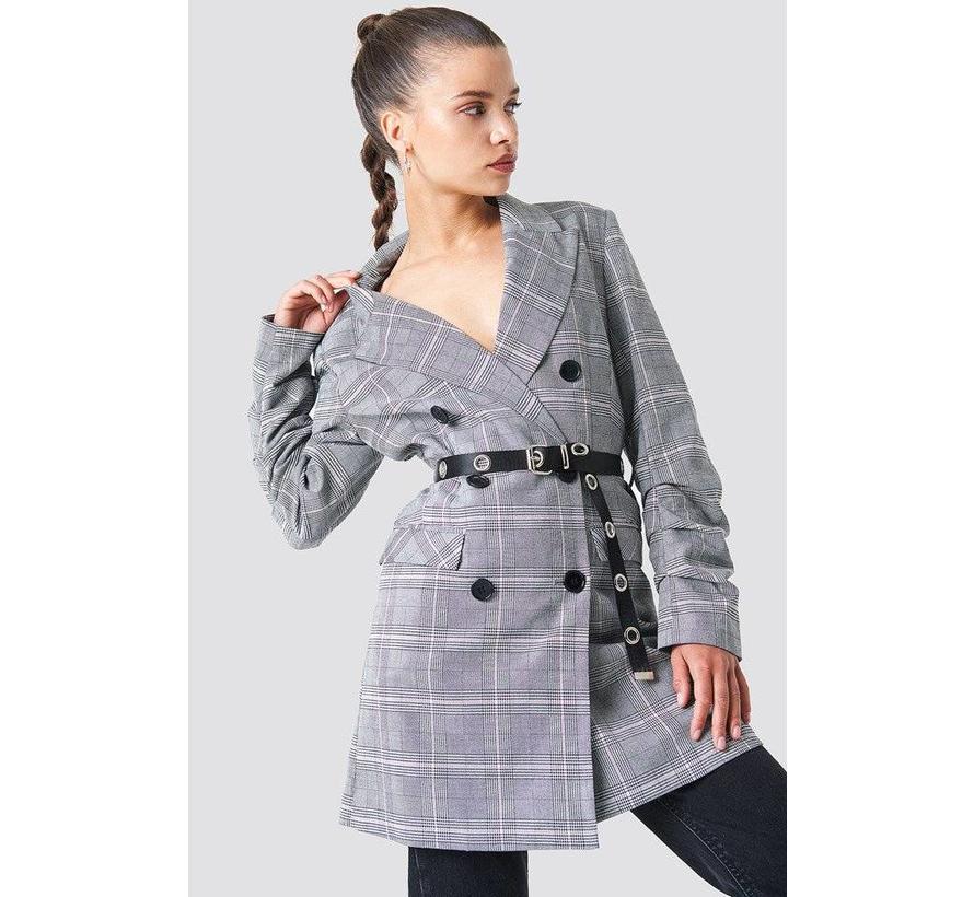 Long Belted Blazer 1100-000934 | checkered