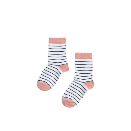 MINGO Socks | peach pink/b/w stripes