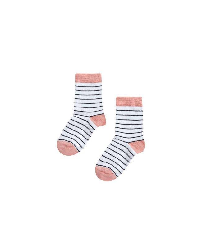 Socks | peach pink/b/w stripes