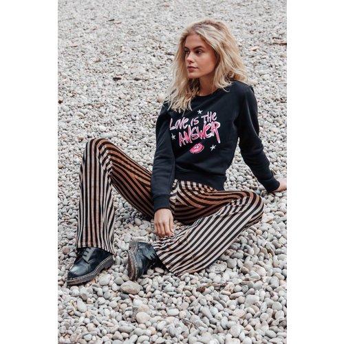 Colourful Rebel 6058 - HANNAH VELVET STRIPE FLARE PANTS BROWN